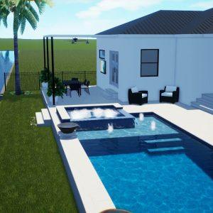 Nicholson Swimming Pool & Spa with Artistic Pavers - Patio Pools