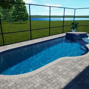 Brown Swimming Pool with Screen Enclosure - Patio Pools