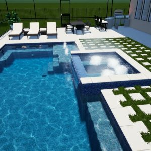 Heiser Swimming Pool & Spa with Screen Enclosure - Patio Pools